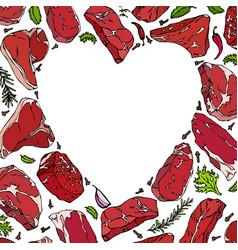 Heart of meat steaks vector