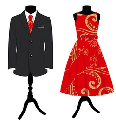 Man suit and woman dress vector