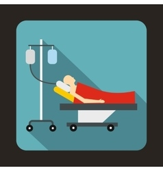 Patient in bed on a drip icon flat style vector