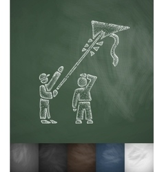 People with kite icon hand drawn vector