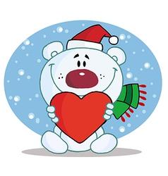 Polar Bear Holding A Heart In The Snow vector image vector image