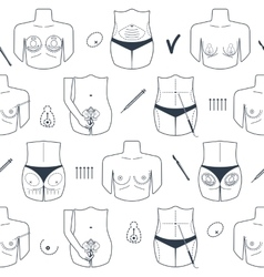 Seamless pattern of body plastic surgery with vector image vector image