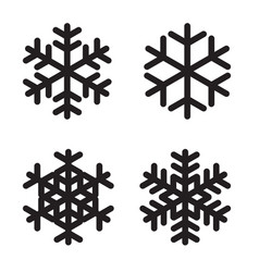 set of silhouettes snowflakes on white vector image vector image