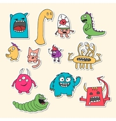 Set of stickers with doodle monsters vector image