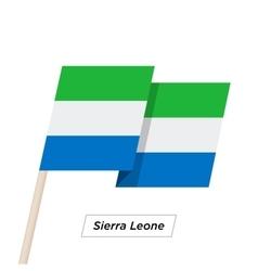 Sierra leone ribbon waving flag isolated on white vector