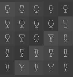 wine glass linear icons set vector image vector image