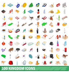 100 kingdom icons set isometric 3d style vector image