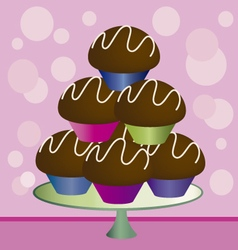 Chocolate cupcakes vector