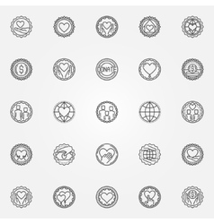 Donation and charity badges set vector image