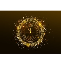 Midnight new year clock with roman numerals and vector