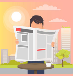man holding and reading newspaper near table vector image