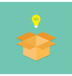 Light bulb and opened cardboard package box vector