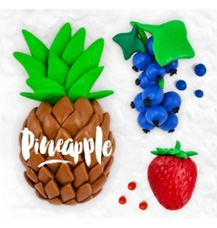 Plasticine fruits pineapple vector