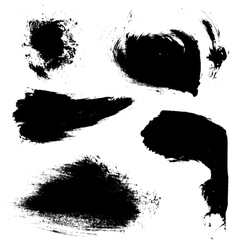 Abstract brush strokes of black paint on white vector image vector image