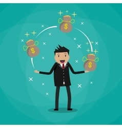 Businessman juggling with money bags vector