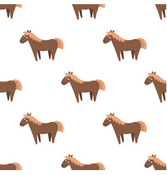 cartoon horse seamless pattern on white vector image vector image