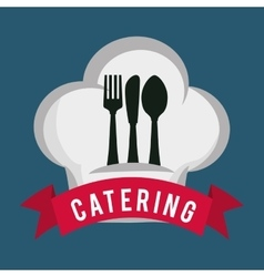 Catering food service spoon fork knife hat shape vector