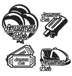 Color vintage amusement park emblems vector