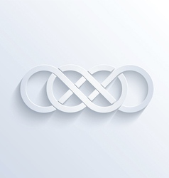 Double infinity sign with shadow vector