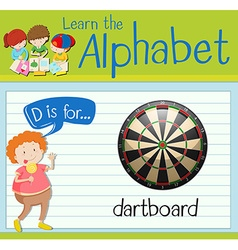 Flashcard alphabet d is for dartboard vector