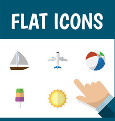 Flat icon season set of sunshine yacht aircraft vector