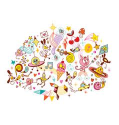 fun cartoon characters group design elements vector image vector image