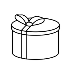 gift round box ribbon linear vector image
