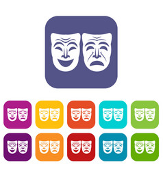 Happy and sad mask icons set vector