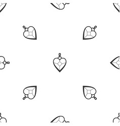 heart shaped pendant pattern seamless black vector image