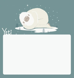 Holiday card with sleeping yeti vector image