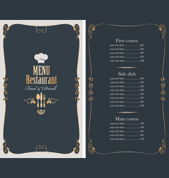 menu with price list and gold pattern vector image vector image