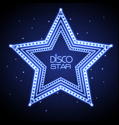 Neon sign of disco star vector