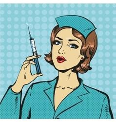 nurse with syringe in pop vector image