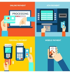 Payment methods credit card cash mobile app and vector