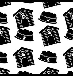 pet house and bowl food animal seamless pattern vector image vector image
