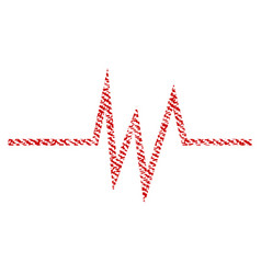 Pulse signal fabric textured icon vector
