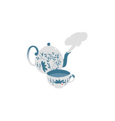 retro antique porcelain teapot and tea cup set vector image