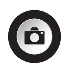 Round black and white button - camera icon vector