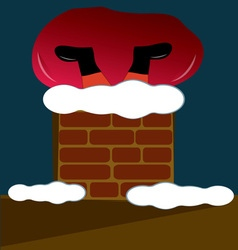Santa in chimney vector