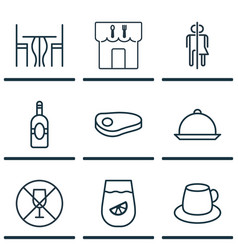 Set of 9 cafe icons includes lemonade hooch vector