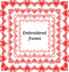 Set of frames with embroidered hearts vector image vector image