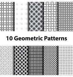 Set of ten geometric patterns vector image vector image