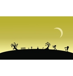 Silhouette of zombie in graveyards halloween vector