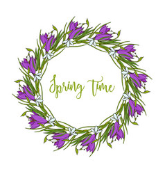 Spring wreath with crocus flowers vector