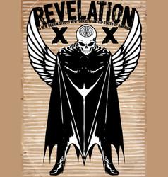 tee graphic skull super hero man white background vector image