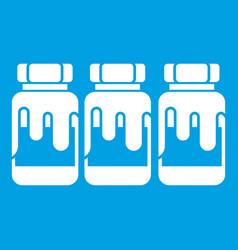 Three plastic jars with gouache icon white vector