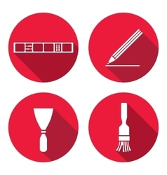Tool icons set Spattle brush surfacer vector image