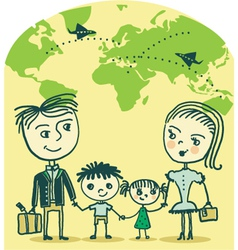 travelling family vector image
