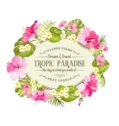 Tropical flowers wreath vector image