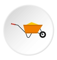 Wheelbarrow with construction debris icon vector